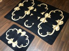 ROMANY GYPSY WASHABLES SET OF TOURER SIZES 67X120CM MATS/RUGS BLACK/BEIGE BOWS